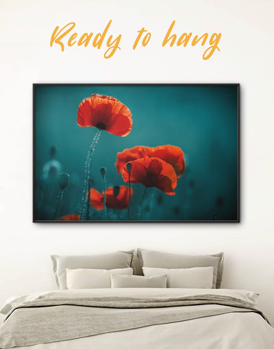 Framed Poppy Wall Art Canvas - bedroom Blue Dining room flora flower