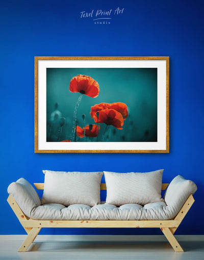 Framed Poppy Wall Art Print - bedroom Blue Dining room flora flower