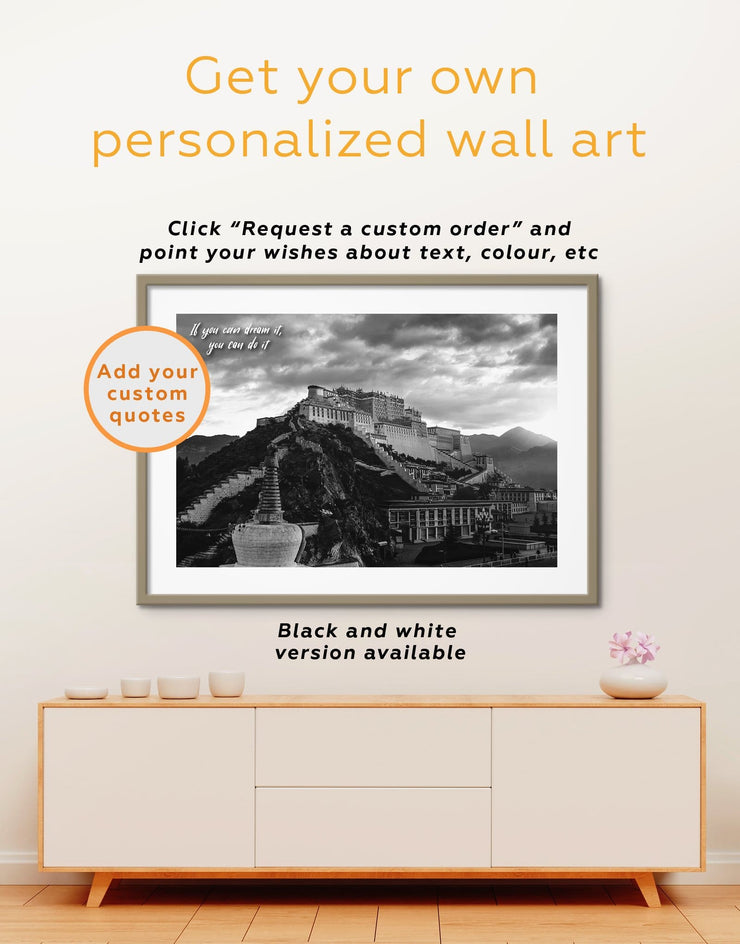 Framed Potala Palace in Lhasa Wall Art Print - Architectural Wall Art bedroom buddhist wall art Dining room dining room wall art