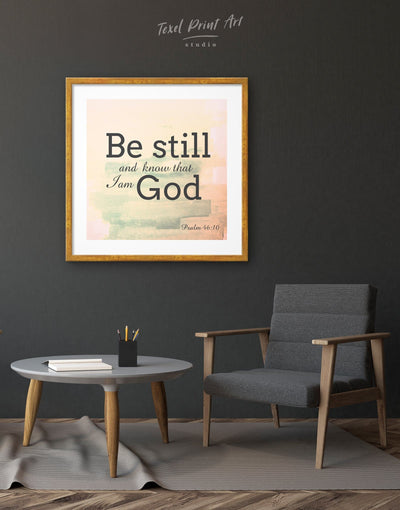 Framed Psalm 46:10 Be Still and Know That I am God Wall Art Print - bedroom black Christian framed print Hallway