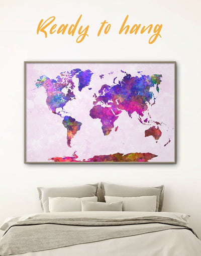 Framed Purple Abstract World Map Wall Art Canvas - Abstract map corkboard framed framed canvas framed map wall art