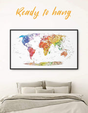 Framed Push Pin Travel Map Colorful Wall Art Canvas