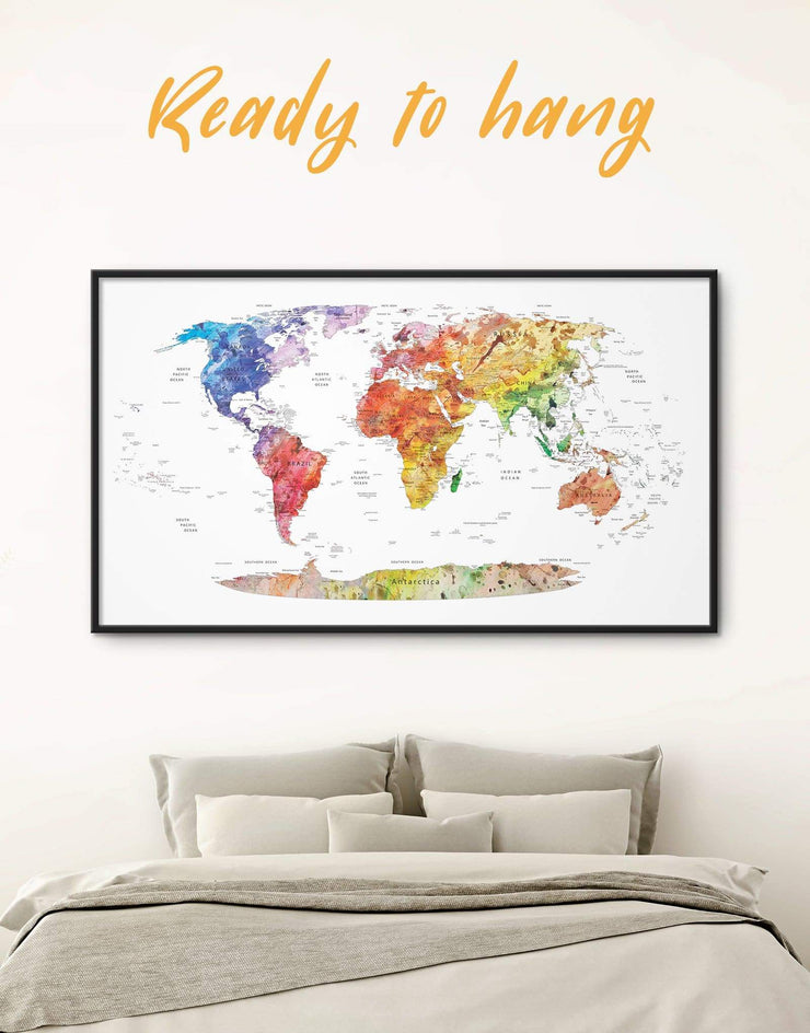 Framed Push Pin Travel Map Colorful Wall Art Canvas - bedroom contemporary wall art corkboard framed framed canvas