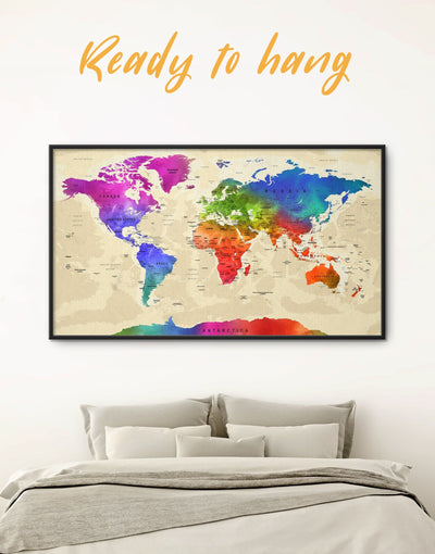 Framed Push Pin World Map Colorful Wall Art Canvas - Blue blue and green wall art contemporary wall art corkboard framed canvas