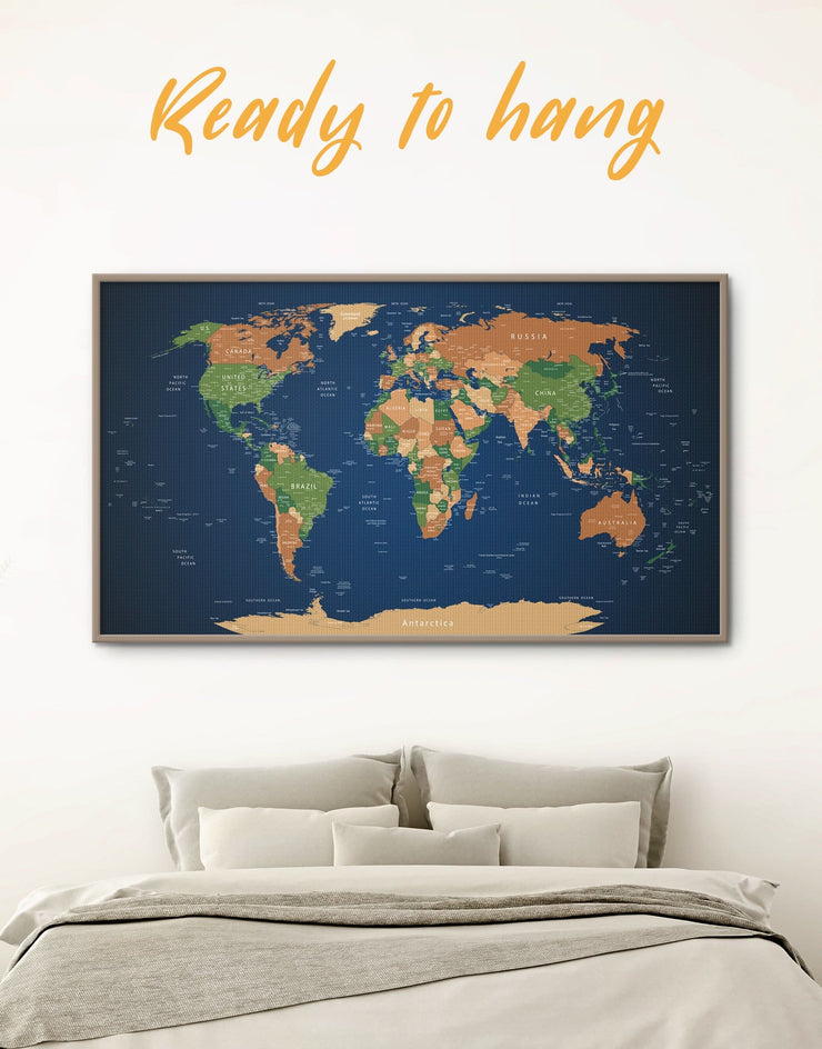 Framed Pushpin Blue World Map Wall Art Canvas - bedroom blue and green wall art corkboard framed canvas framed world map canvas