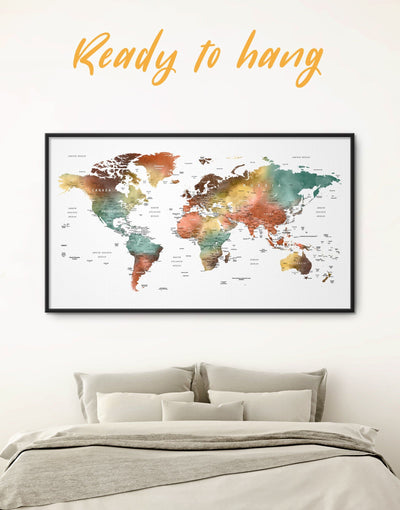 Framed Pushpin World Map Wall Art Canvas - bedroom Contemporary contemporary wall art corkboard framed canvas