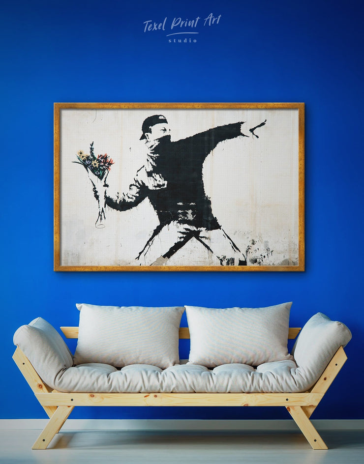 Framed Rage Flower Thrower Banksy Wall Art Canvas - banksy wall art bedroom black and white wall art Contemporary contemporary wall art