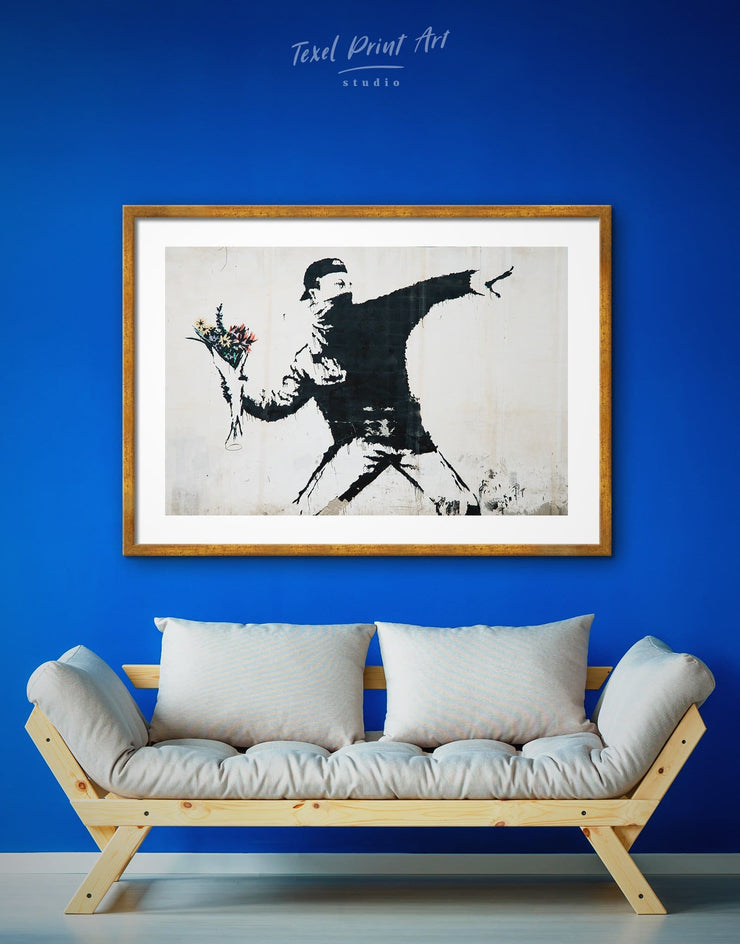 Framed Rage Flower Thrower Banksy Wall Art Print - banksy wall art bedroom black and white wall art Contemporary contemporary wall art