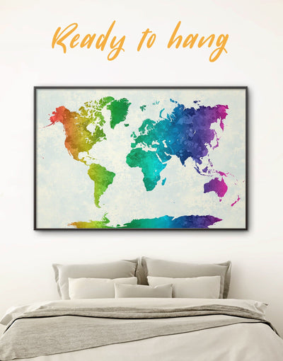 Framed Rainbow Map Wall Art Canvas - Abstract map abstract world map wall art bedroom framed canvas framed world map canvas