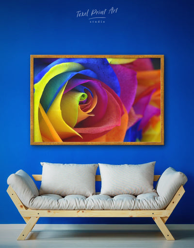 Framed Rainbow Rose Wall Art Canvas - bedroom blue flora Floral flower