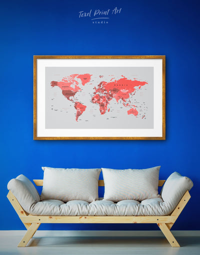 Framed Red-Colored World Map Wall Art Print - framed print framed world map print Living Room Office Wall Art red
