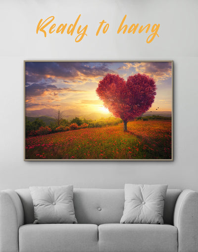 Framed Red Heart Wall Art Canvas - bedroom Dining room framed canvas Hallway landscape wall art