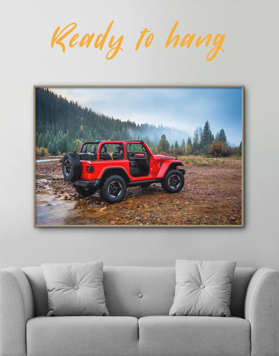Framed Red Jeep Wrangler Wall Art Canvas - bachelor pad Car framed canvas garage wall art wall art for men