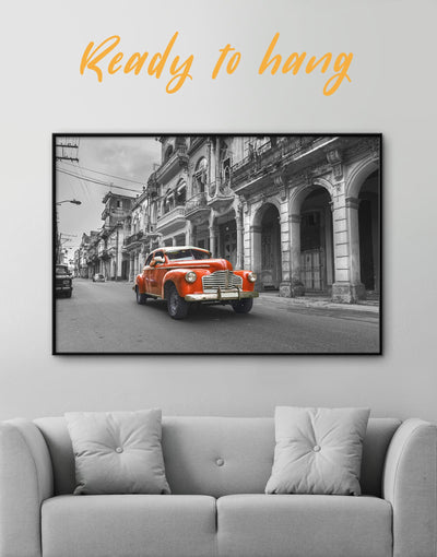 Framed Red Retro Car Wall Art Canvas - Car framed canvas garage wall art Hallway Living Room