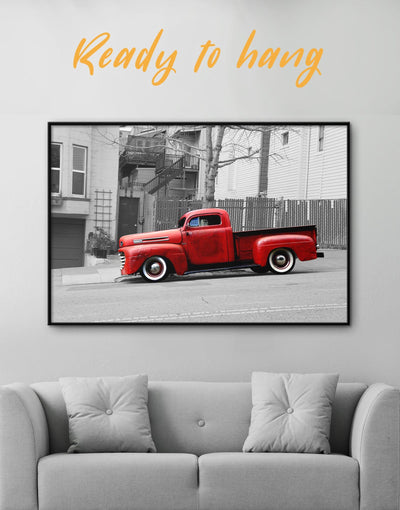 Framed Red Vintage Car Wall Art Canvas - bachelor pad Car framed canvas grey Hallway