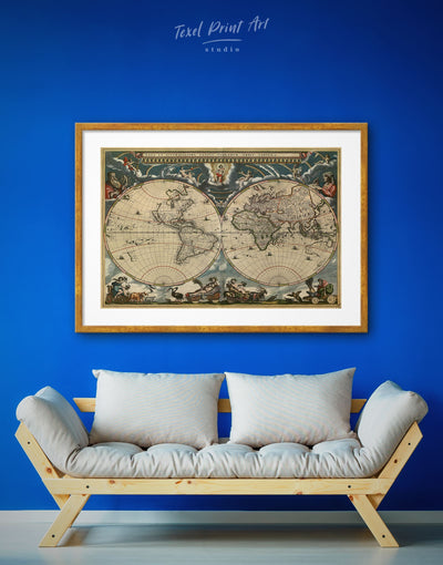 Framed Restoration World Map Wall Art Print - Antique Antique world map canvas bedroom Brown double hemisphere world map