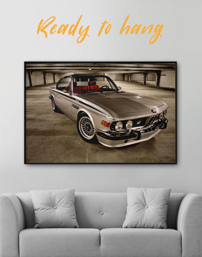 Framed Retro BMW Wall Art Canvas - bachelor pad Car framed canvas garage wall art Hallway