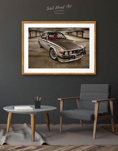 Framed Retro BMW Wall Art Print - bachelor pad Car framed print garage wall art Hallway