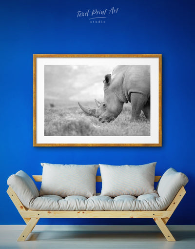 Framed Rhino Head Wall Art Print - Animal bedroom black and white wall art Dining room framed print