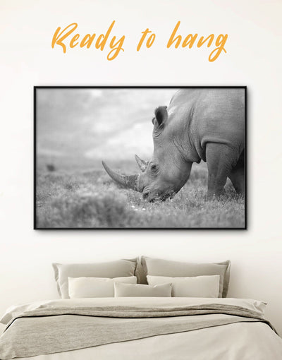Framed Rhinoceros Animal Wall Art Canvas - Animal bedroom black and white wall art Dining room framed canvas