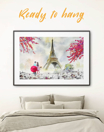 Framed Romantic Couple Wall Art Print - bedroom eiffel tower wall art framed print framed wall art french wall art