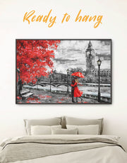 Framed Romantic Rainy Day Wall Art Canvas