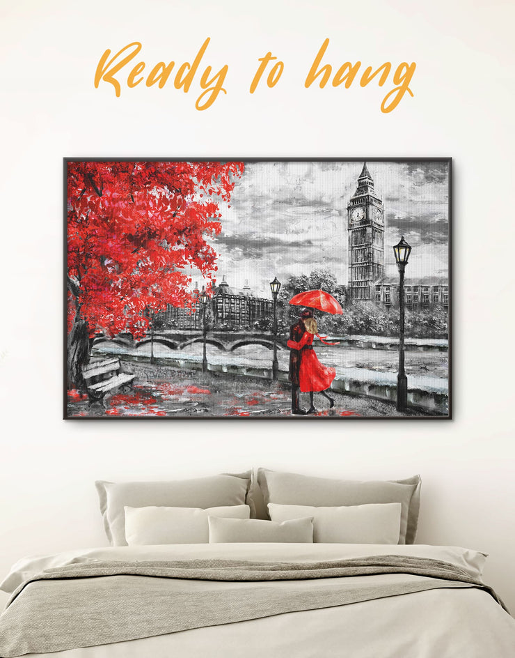 Framed Romantic Rainy Day Wall Art Canvas - bedroom framed canvas framed wall art Living Room london wall art