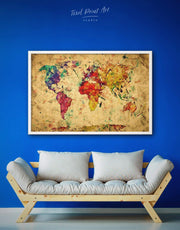 Framed Rustic World Map Wall Art Canvas 0015