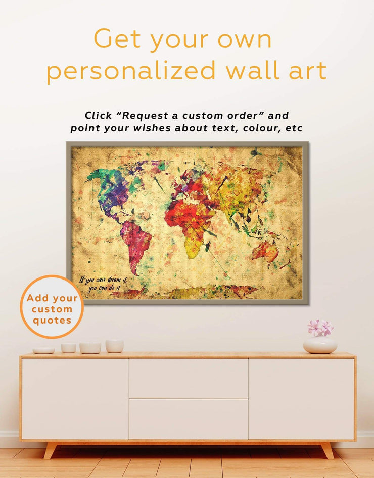 Framed Rustic World Map Wall Art Canvas - Abstract Abstract map abstract world map wall art framed abstract wall art framed canvas