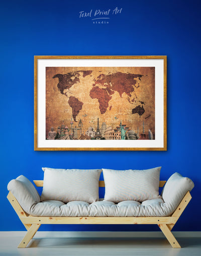 Framed Rustic World Map Wall Art Print - Abstract Abstract map bedroom Brown brown framed wall art