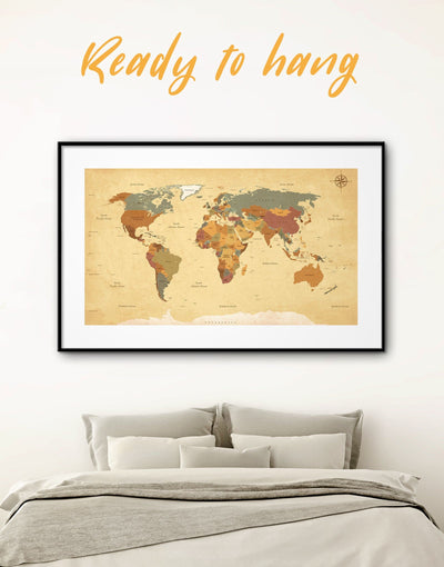 Framed Rustic World Map Wall Art Print - framed map wall art framed print framed wall art framed world map print Living Room