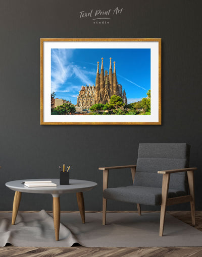 Framed Sagrada Familia Print - Wall Art bedroom Blue City Skyline Wall Art Cityscape framed print