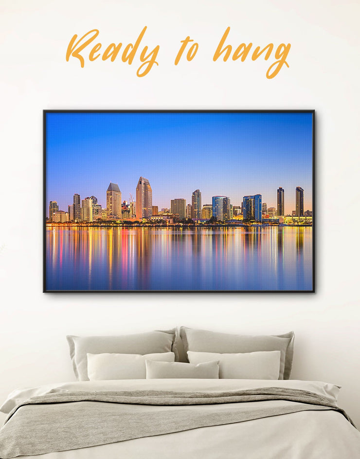 Framed San Diego Wall Art Canvas - bedroom City Skyline Wall Art Cityscape dining room wall art framed canvas