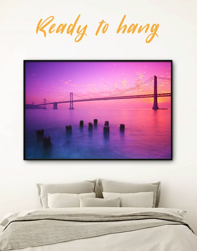 Framed San Francisco Bridge Wall Art Canvas - bedroom Bridge framed canvas Golden Gate bridge wall art Living Room