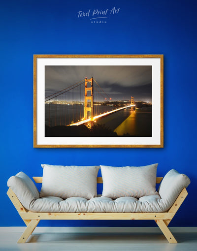 Framed San Francisco Bridge Wall Art Print - bedroom Black City Skyline Wall Art Cityscape framed print