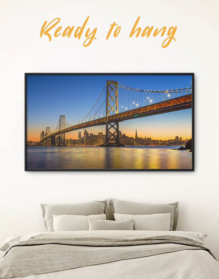 Framed San Francisco Skyline Wall Art Canvas - bedroom Blue City Skyline Wall Art Cityscape framed canvas