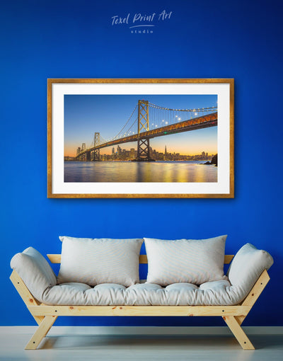 Framed San Francisco View Wall Art Print - bedroom Blue City Skyline Wall Art Cityscape framed print
