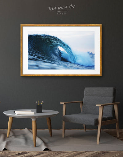 Framed Sea Wave Wall Art Print - bedroom Blue blue wall art for bedroom Blue wall art for living room framed print