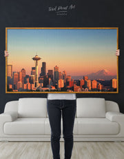 Framed Seattle City View Wall Art Canvas