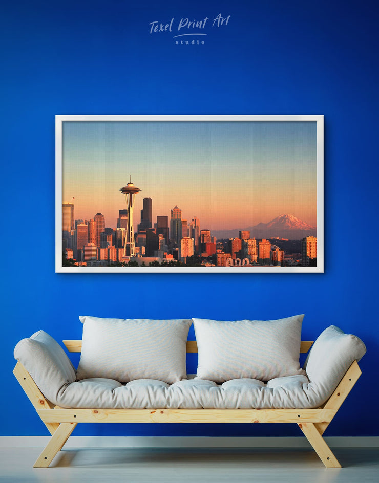 Framed Seattle City View Wall Art Canvas - bedroom Blue City Skyline Wall Art Cityscape Dining room