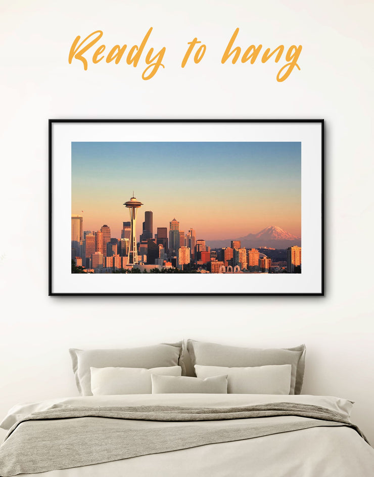 Framed Seattle Panorama Wall Art Print - bedroom Blue City Skyline Wall Art Cityscape Dining room