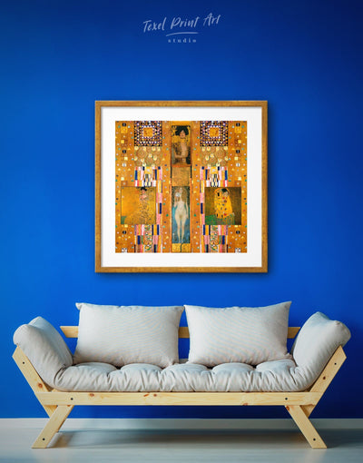 Framed Set of Painttings by Gustav Klimt Wall Art Print - art gallery wall bedroom Brown framed framed print