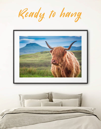 Framed Shaggy Cow Wall Art Print - Animal Animals bedroom cow canvas wall art Dining room