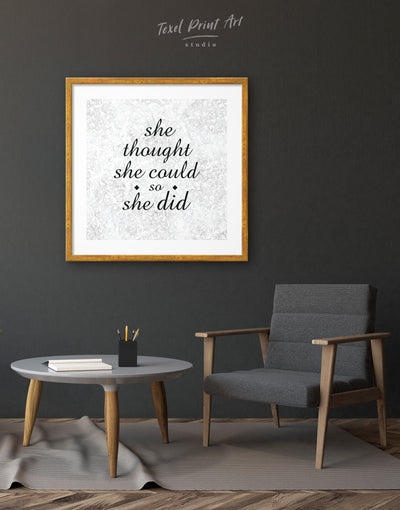 Framed She Thought She Could So She Did Wall Art Print - bedroom black framed print Hallway inspirational wall art