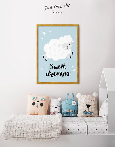 Framed Sheep Nursery Decor Canvas - Canvas Wall Art blue framed canvas grey Kids room kids wall art