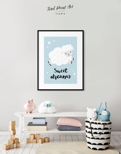 Framed Sheep Nursery Decor Print - Wall Art blue framed print grey Kids room kids wall art