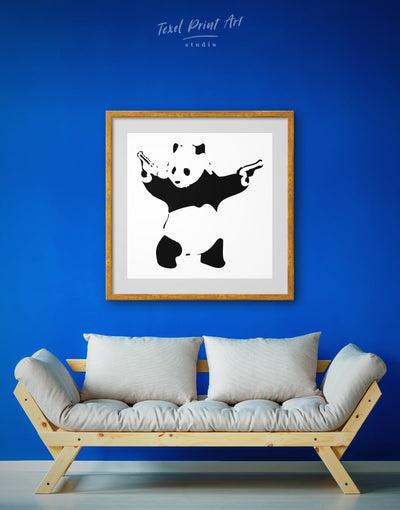 Framed Shooting Panda by Banksy Wall Art Print - Banksy banksy wall art Black black and white wall art Contemporary