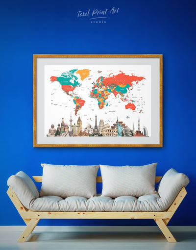 Framed Sightseeing World Map Wall Art Print - Abstract Abstract map bedroom Contemporary contemporary wall art