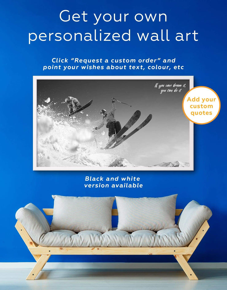 Framed Skiing Canvas Wall Art - Canvas Wall Art bachelor pad framed canvas Hallway inspirational wall art Living Room