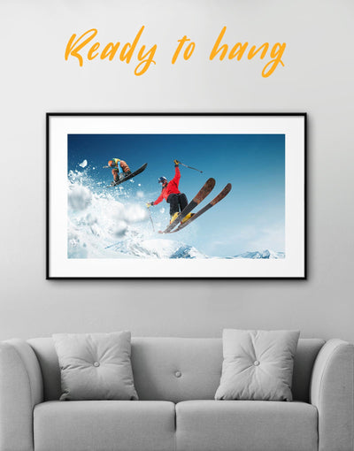 Framed Skiing Prints Wall Art - Wall Art bachelor pad framed print Hallway inspirational wall art Living Room